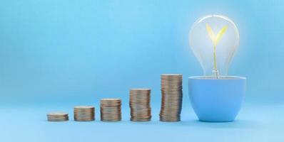 croissance du stock d'investissement de pièces empilées photo