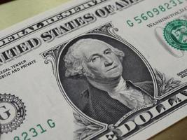 Washington sur 1 dollar note, États-Unis photo