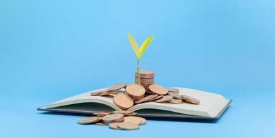 concept de livre d'économie d'argent photo