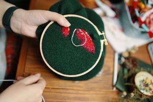 les mains des femmes brodent un chapeau d'agaric sur le cadre photo