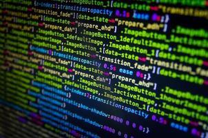 code source et fond d'écran du bureau par codage et programmation. photo