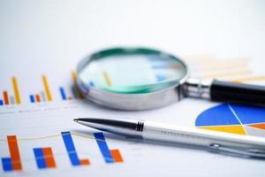 stylo sur un graphique ou du papier millimétré. données commerciales du compte financier. photo