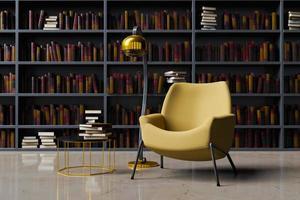 canapé avec lampadaire dans une bibliothèque photo
