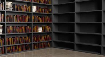 bibliothèque à moitié pleine photo