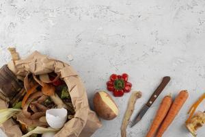 assortiment de compost fait de nourriture pourrie avec espace de copie photo