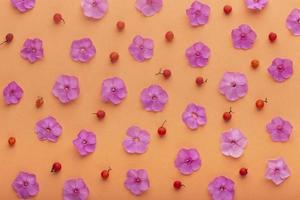 l'assortiment de fleurs à plat photo