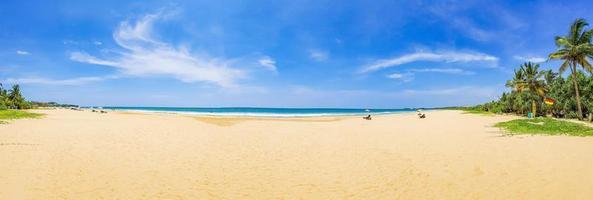 beau panorama de paysage ensoleillé de la plage de bentota au sri lanka. photo