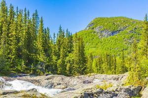 cascade d'eau de rivière à débit rapide rjukandefossen hemsedal norvège. photo