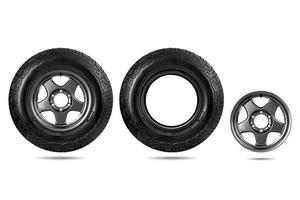 groupe de pneu de voiture avec roue en alliage isolé sur fond blanc. photo