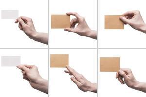recadrer les mains avec des cartes de visite. résolution et haute qualité belle photo