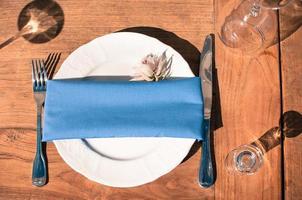 configuration de table de décoration d'événement, texture en bois, extérieur photo