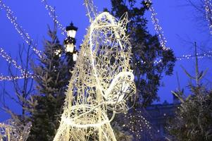 Guirlandes lumineuses blanches en forme de tête de cheval de la troïka russe dans la rue photo