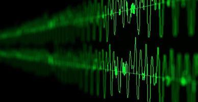 photo d'une vague abstraite verte, d'une ligne de rythme cardiaque et d'une forme d'onde