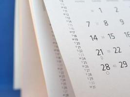 détail de la page du calendrier photo