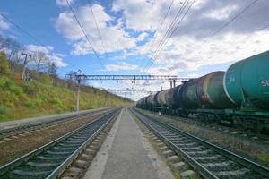 Chemin de fer transsibérien et ciel bleu, Russie photo