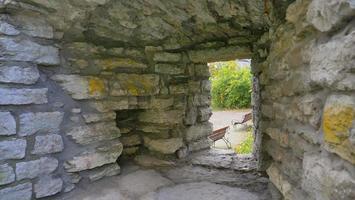 Mur de briques en pierre centre historique vieille ville de Tallinn, Estonie photo