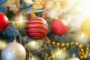 concept de nouvel an et de noël. fond d'arbre de Noël. photo