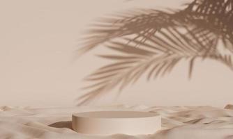 fond de podium simple avec des ombres et du tissu. rendu 3D photo