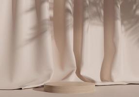 podium d'affichage de produits en bois avec fond en tissu. rendu 3D photo