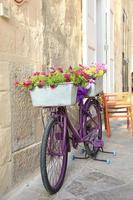 beau pot de fleur sur vélo à matera italie photo