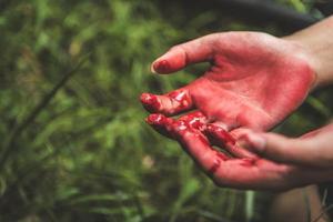 gros plan des mains ensanglantées sur fond de forêt sombre photo