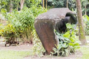grand vase cassé avec des plantes tropicales, kuala lumpur, malaisie. photo