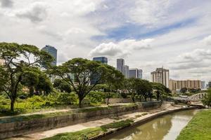 immenses gratte-ciel derrière la nature tropicale et la rivière, kuala lumpur. photo