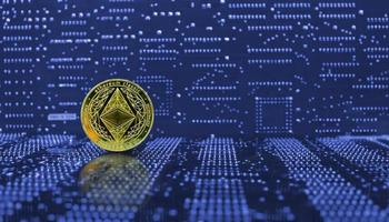 golden ethereum eth coin eth crypto-monnaie nouvelle version photo