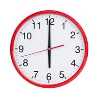 six heures sur un cadran rond photo