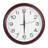 six heures sur l'horloge ronde photo