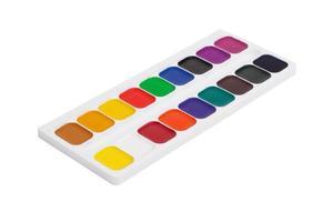boîte en plastique avec des peintures aquarelles colorées photo