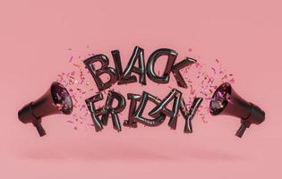signe de ballon du vendredi noir avec mégaphones et confettis photo