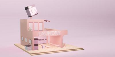 modèle de magasin de blanchisserie machine à laver dessin animé service de blanchisserie photo