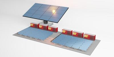 maquette de panneau solaire du centre de stockage électrique de l'énergie solaire photo