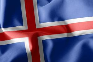 Drapeau d'illustration de rendu 3D de l'Islande. photo