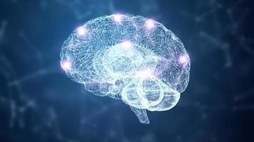 hologramme filaire abstrait cerveau hud et système nerveux photo