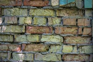 Vieux mur de briques brunes fissurées fond texturé photo