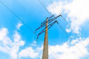 ligne de transmission à haute tension avec des supports en béton sur fond de ciel bleu photo