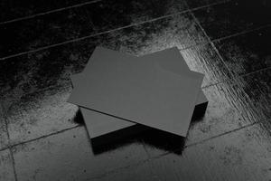 modèle de maquette de papier de carte de visite horizontale noire photo