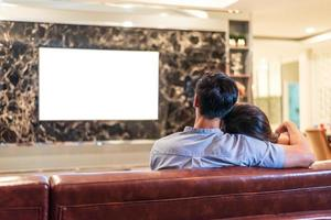 couples asiatiques, regarder, blanc, écran blanc, affichage, télévision photo