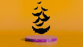 podium et fond abstrait minimal pour halloween, forme géométrique de rendu 3d. illustration 3D. photo