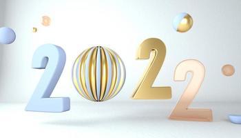 bonne année 2022. nombres 3d avec des formes géométriques et boule de noël. rendu 3D. photo