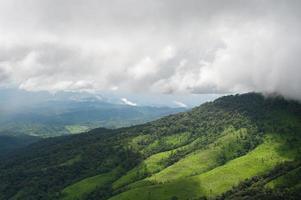 beau paysage de montagnes et ciel bleu nuage photo