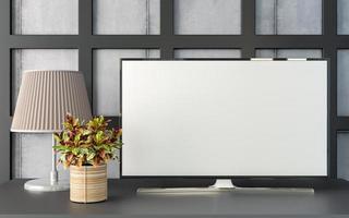 Salon et mobilier 3D avec télévision vierge photo