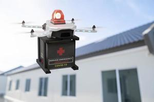 industrie des dispositifs d'ingénierie de la technologie des drones volant dans la logistique industrielle exportation importation covid 19 logistique du service de livraison de vaccins coronavirus transport transport pour les personnes rendu 3d photo