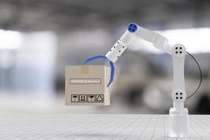 boîte de transport d'inspection avec robot à main ai machine.pour l'assurance de maintenance de service avec moteur de voiture.pour le transport automobile automobile ai et livraison en ligne pendant le coronavirus covid 19 photo