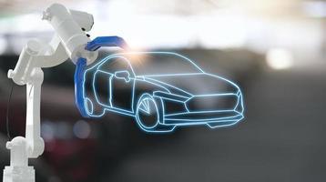 moteur d'inspection mécanique avec robot à main ai machine.voiture bleue pour l'assurance de maintenance de service avec moteur de voiture.pour le transport automobile automobile ai. photo