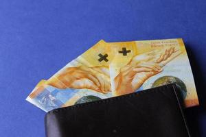 billets suisses de dix francs et portefeuille en cuir marron sur fond bleu photo