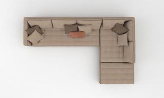 canapé vue de dessus meubles rendu 3d photo