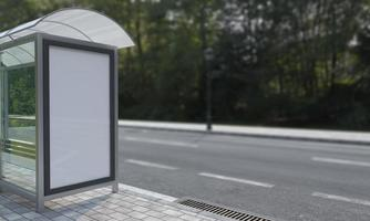 illustration 3d de maquette d'abribus d'arrêt de bus photo